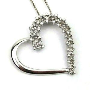 Jewelry - Sterling Silver Open Heart Pendant Diamond Chips